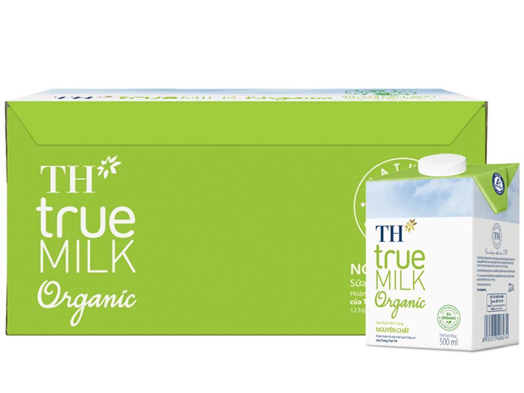 Thùng 12 hộp sữa tươi tiệt trùng TH true MILK Organic nguyên chất 500ml 2