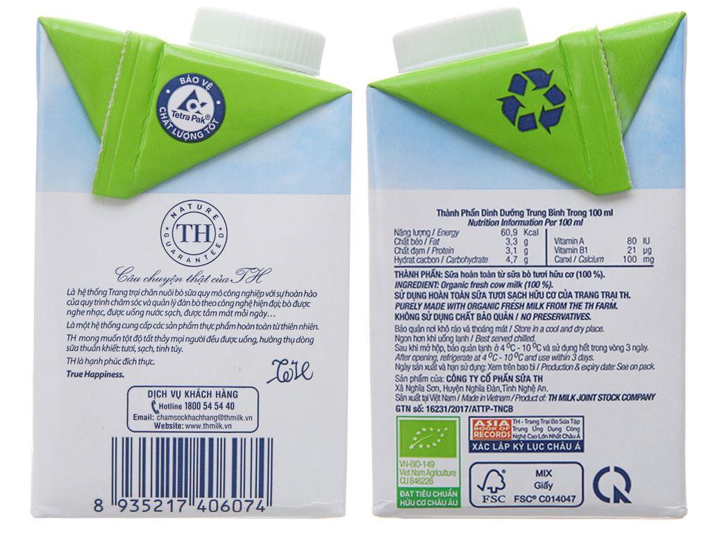 Thùng 12 hộp sữa tươi tiệt trùng TH true MILK Organic nguyên chất 500ml 5