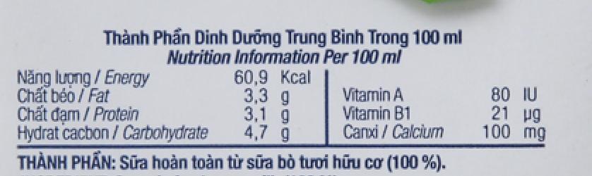 Thùng 12 hộp sữa tươi tiệt trùng TH true MILK Organic 500ml 6