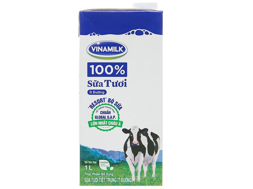 Thùng 12 hộp sữa tươi ít đường Vinamilk 100% Sữa Tươi 1 lít 3
