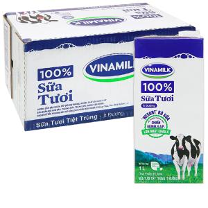 Thùng 12 hộp sữa tươi ít đường Vinamilk 100% Sữa Tươi 1 lít