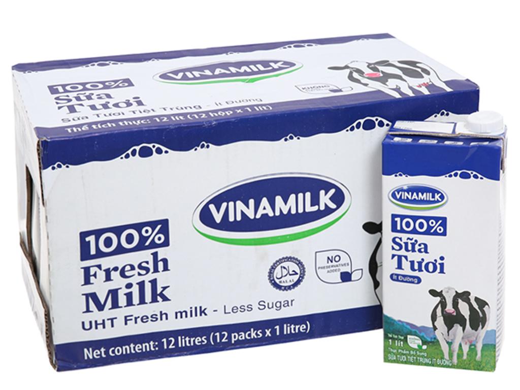 Thùng 12 hộp sữa tươi tiệt trùng Vinamilk 100% Sữa Tươi ít đường 1 lít 1