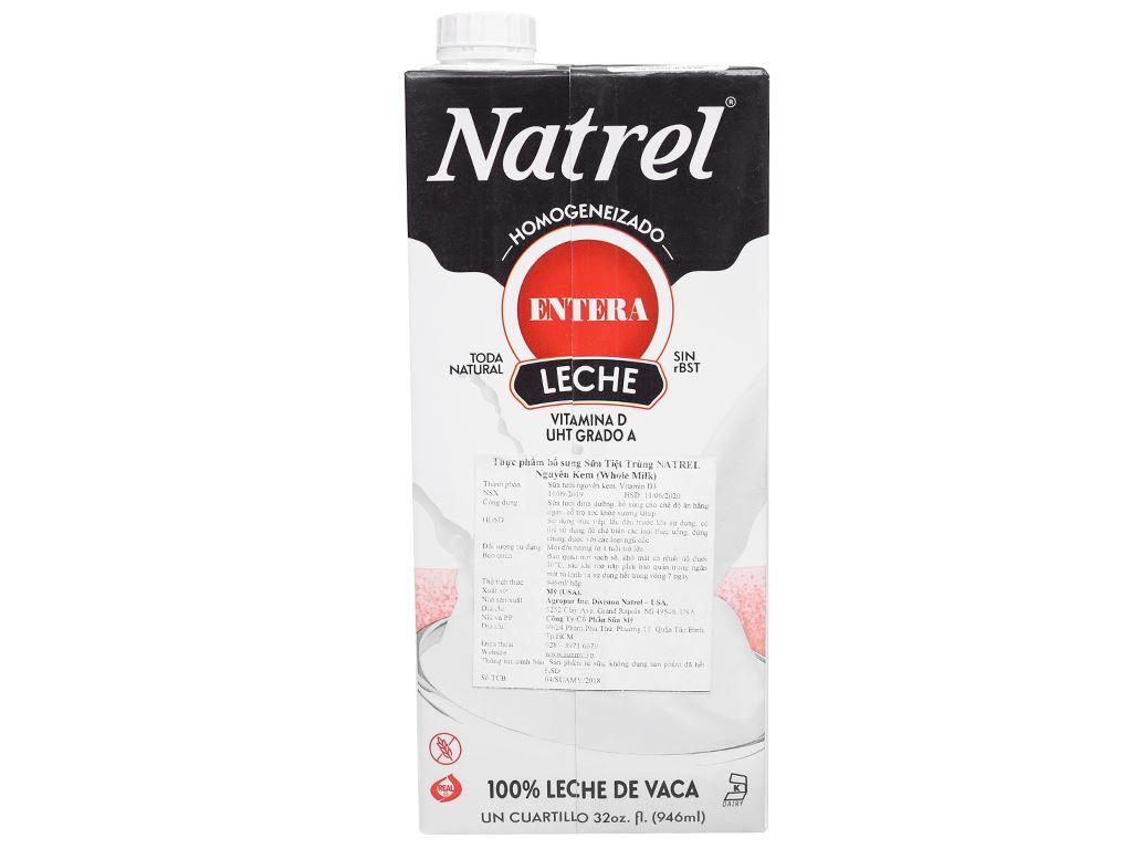 Sữa tươi tiệt trùng Natrel nguyên kem hộp 946ml 7