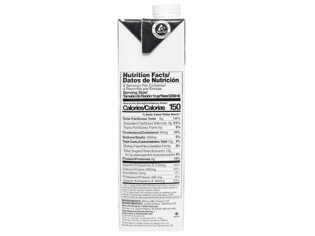 Sữa tươi tiệt trùng Natrel nguyên kem hộp 946ml 8