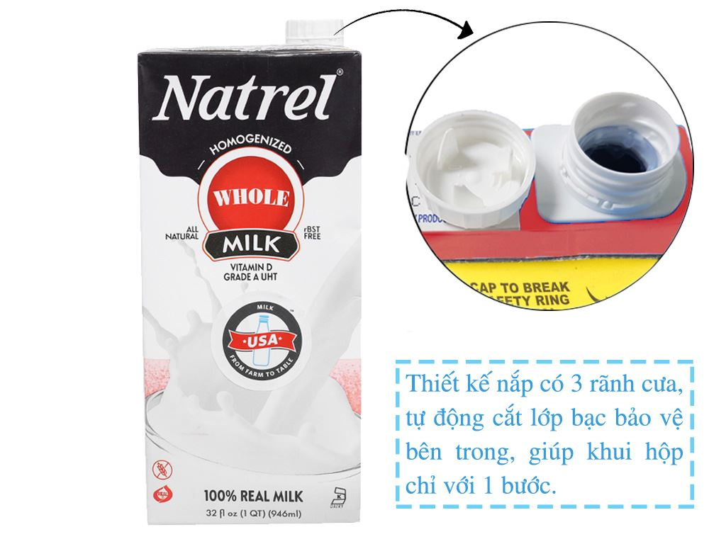 Sữa tươi tiệt trùng nguyên kem Natrel hộp 946ml 12
