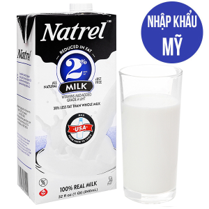 Sữa tươi tiệt trùng Natrel 2% béo không đường hộp 946ml
