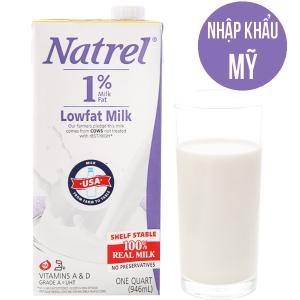 Sữa tươi tiệt trùng Natrel 1% béo không đường hộp 946ml