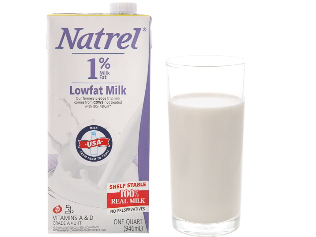 Sữa tươi tiệt trùng 1% béo Natrel hộp 946ml 2