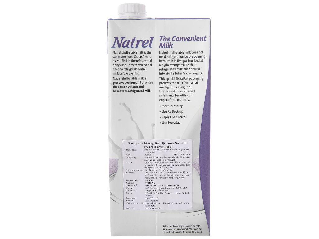 Sữa tươi tiệt trùng 1% béo Natrel hộp 946ml 3