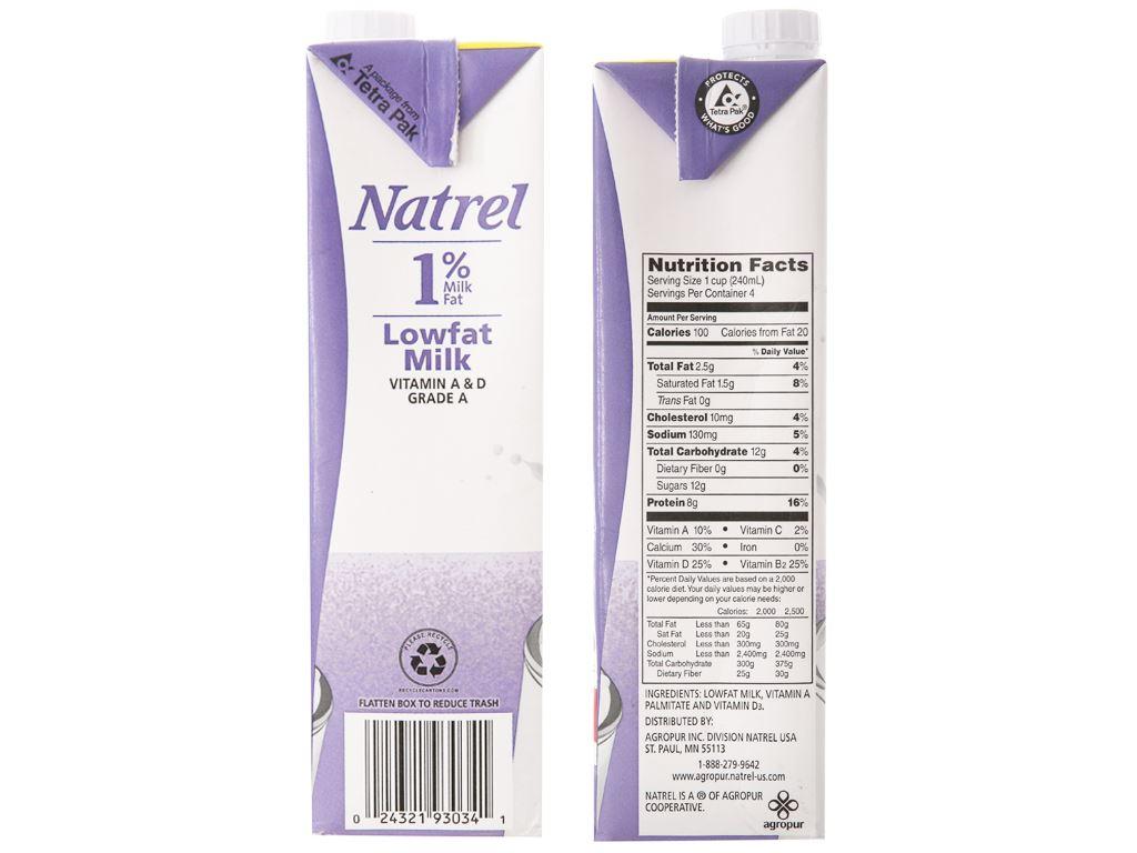 Sữa tươi tiệt trùng 1% béo Natrel hộp 946ml 5