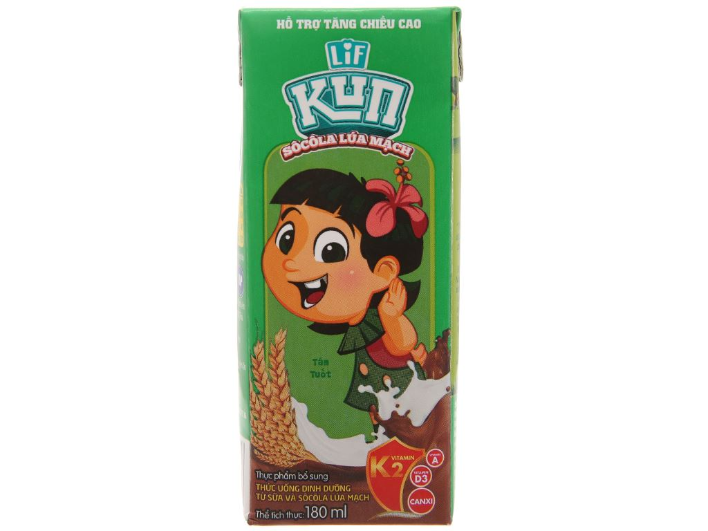 Sữa lúa mạch LiF Kun sô cô la lúa mạch 180ml 1