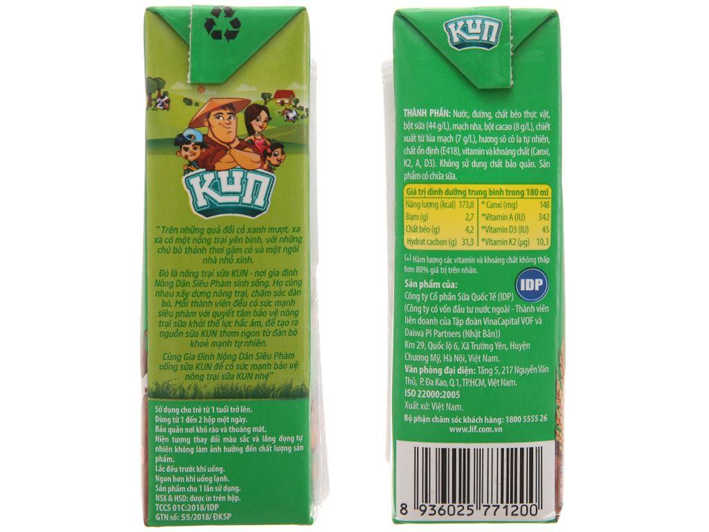 Sữa lúa mạch LiF Kun sô cô la lúa mạch 180ml 3