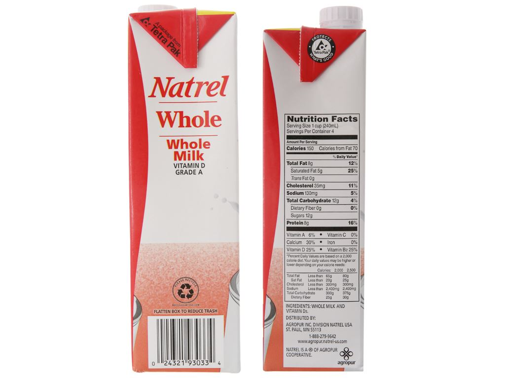 Thùng 12 hộp sữa tươi tiệt trùng Natrel nguyên kem hộp 946ml 5