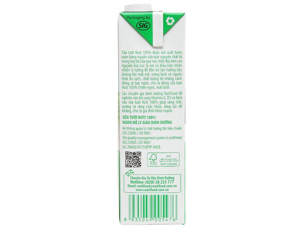Thùng 12 hộp sữa tươi tiệt trùng có đường Nuti 100% Sữa Tươi 1 lít 5