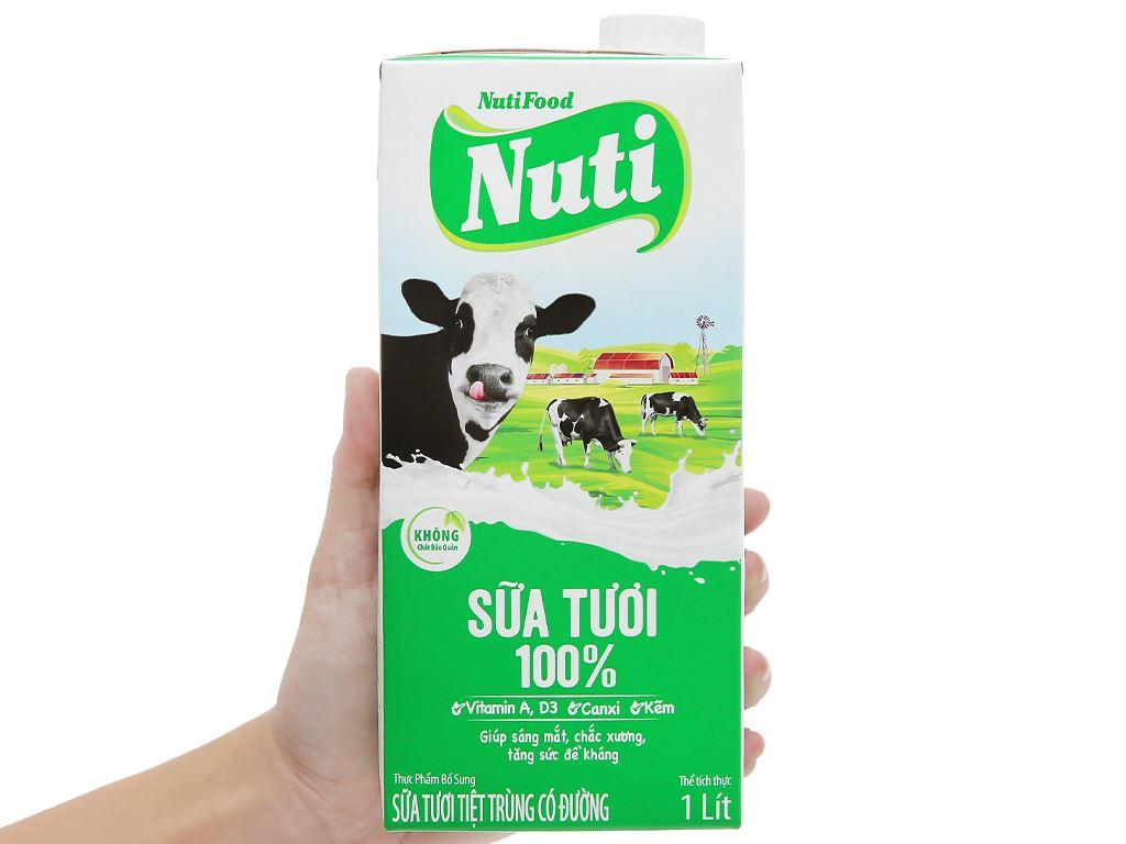 Thùng 12 hộp sữa tươi tiệt trùng có đường Nuti 100% Sữa Tươi 1 lít 8