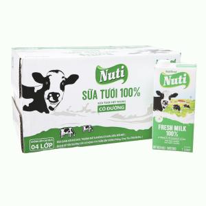 Thùng 12 hộp sữa tươi tiệt trùng có đường Nuti 100% Sữa Tươi 1 lít