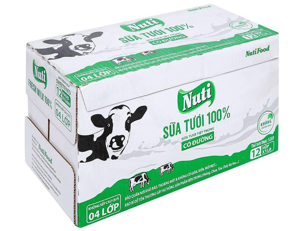 Thùng 12 hộp sữa tươi tiệt trùng có đường Nuti 100% Sữa Tươi 1 lít 1