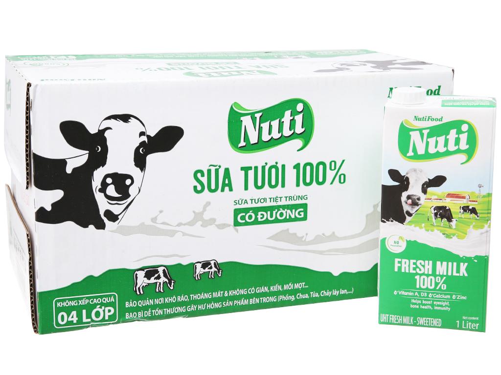 Thùng 12 hộp sữa tươi tiệt trùng Nuti có đường 1 lít 2
