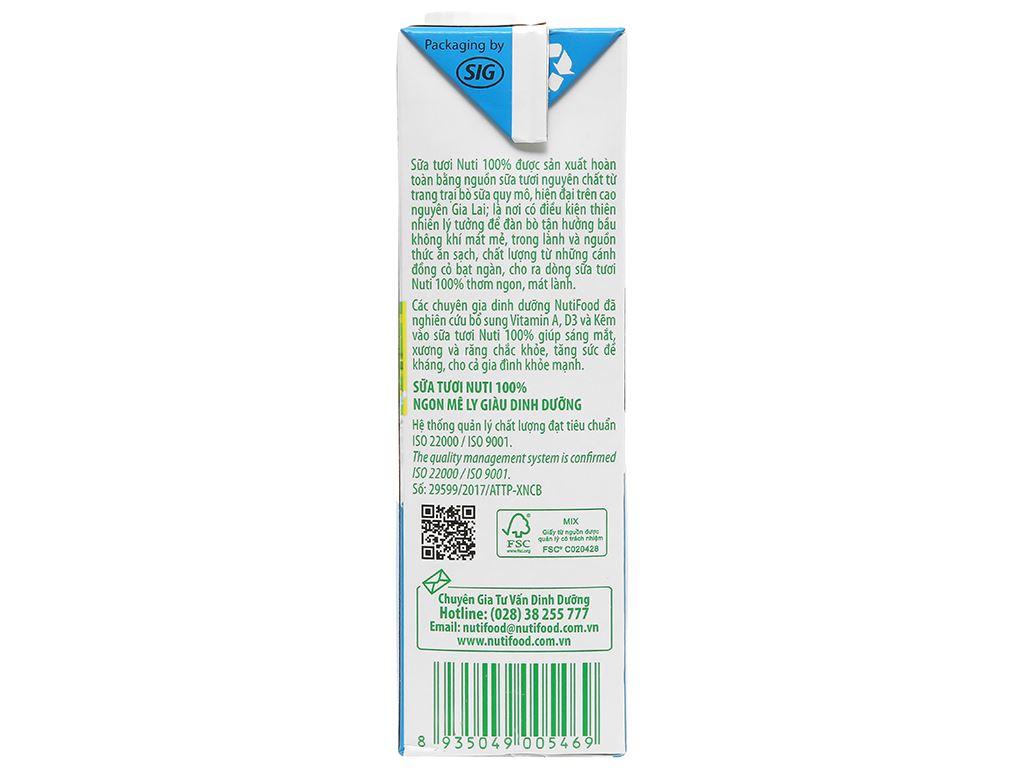 Thùng 12 hộp sữa tươi tiệt trùng không đường Nuti 100% Sữa Tươi hộp 1 lít 6