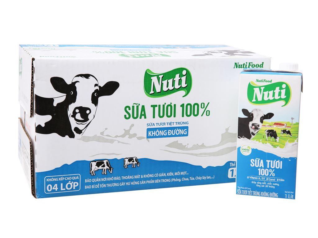 Thùng 12 hộp sữa tươi tiệt trùng Nuti không đường hộp 1 lít 2