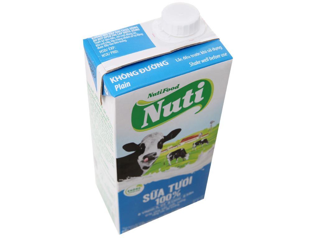 Thùng 12 hộp sữa tươi tiệt trùng Nuti không đường hộp 1 lít 4