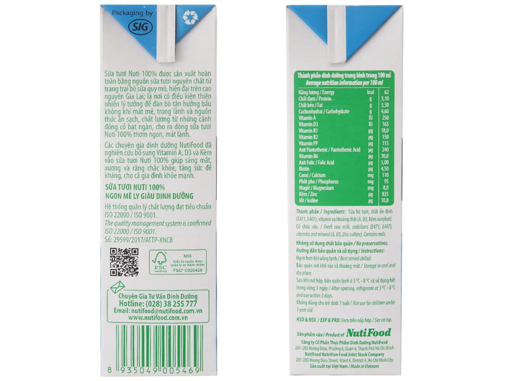 Thùng 12 hộp sữa tươi tiệt trùng Nuti không đường hộp 1 lít 5