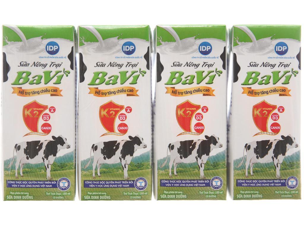 Lốc 4 hộp sữa tươi tiệt trùng Ba Vì có đường 180ml 1
