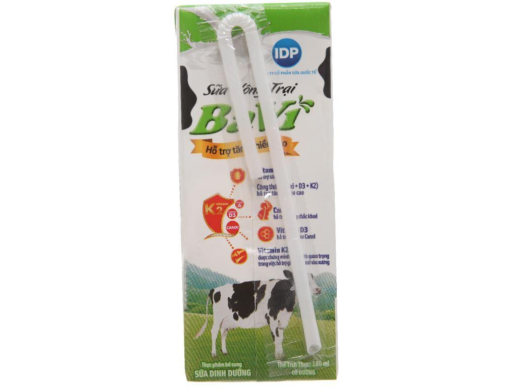Lốc 4 hộp sữa tươi tiệt trùng Ba Vì có đường 180ml 3