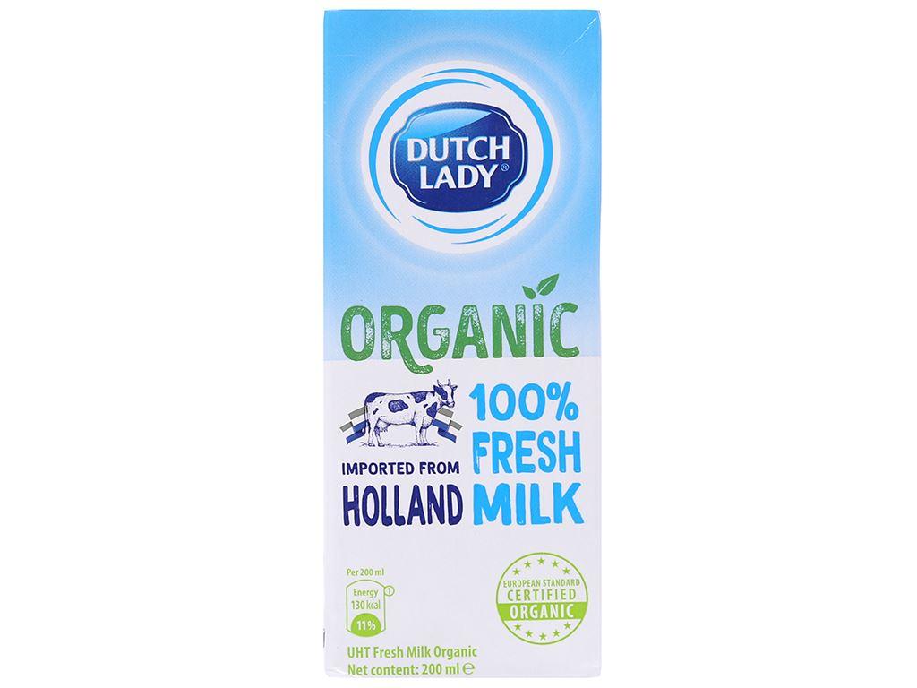 Sữa tươi tiệt trùng Dutch Lady 100% Organic nguyên chất 200ml 1