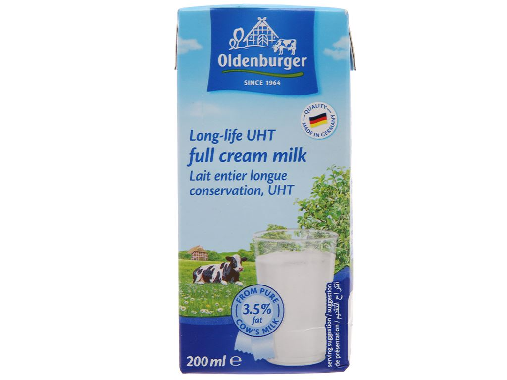 Sữa tươi tiệt trùng Oldenburger nguyên kem hộp 200ml 2