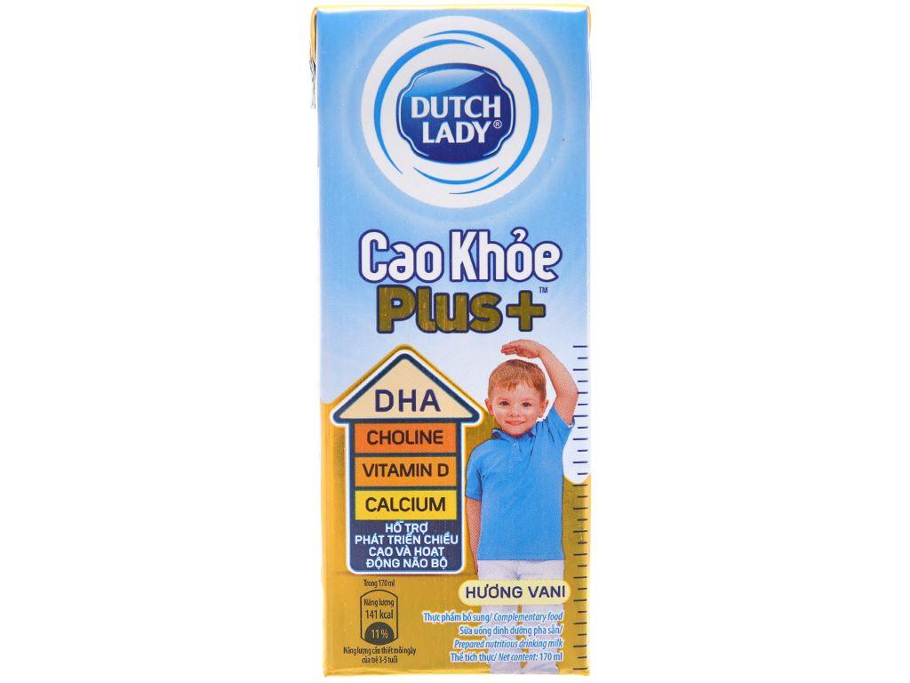 Sữa tiệt trùng Dutch Lady Cao Khoẻ Plus+ vani hộp 170ml 2
