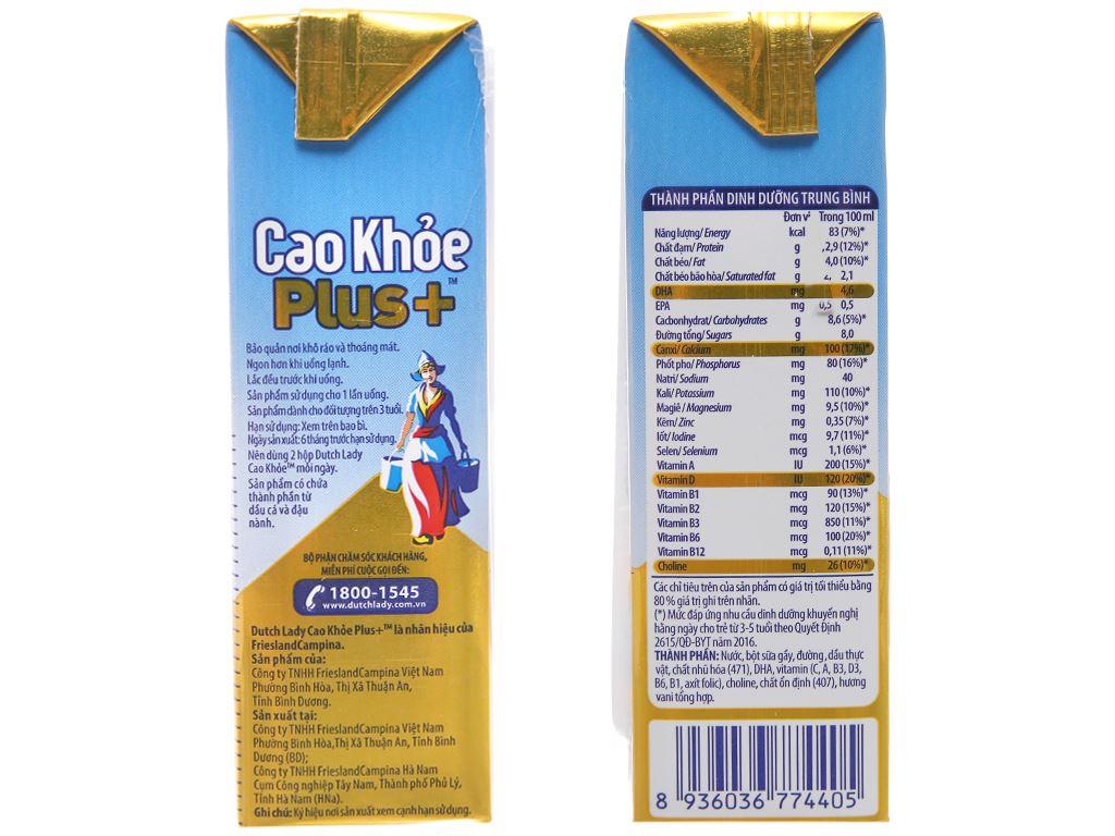 Sữa tiệt trùng Dutch Lady Cao Khoẻ Plus+ vani hộp 170ml 4