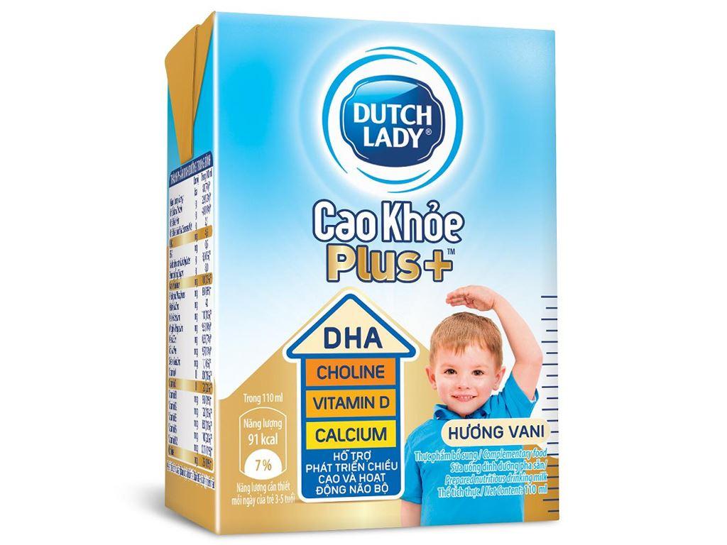 Sữa tiệt trùng Dutch Lady Cao Khoẻ Plus+ vani hộp 110ml 1