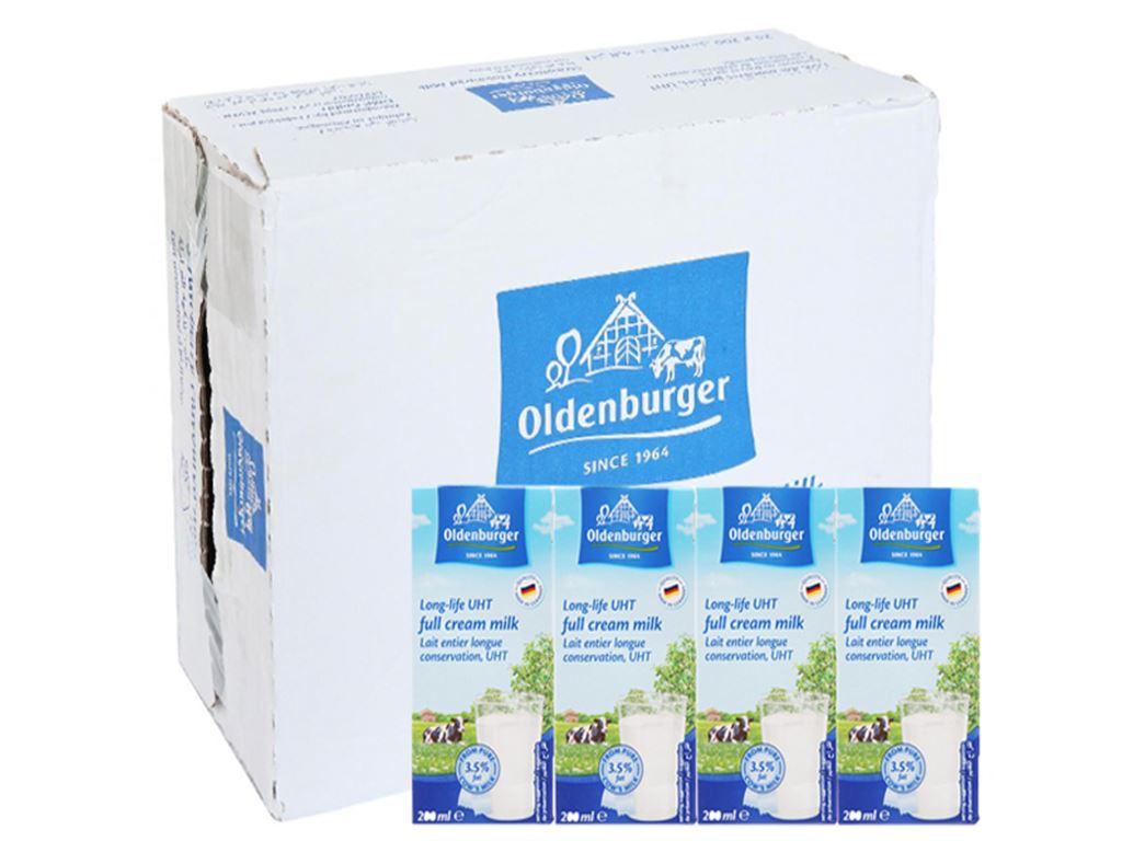 Thùng 24 hộp sữa tươi tiệt trùng Oldenburger nguyên kem 200ml 1