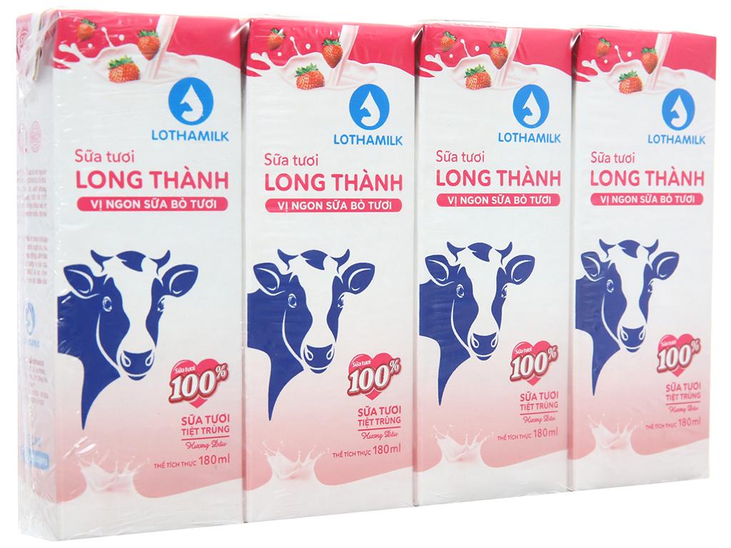 Lốc 4 hộp sữa tươi tiệt trùng Lothamilk hương dâu 180ml 1