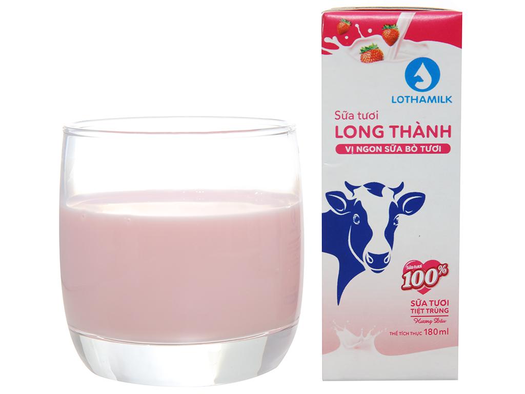 Lốc 4 hộp sữa tươi tiệt trùng Lothamilk hương dâu 180ml 4