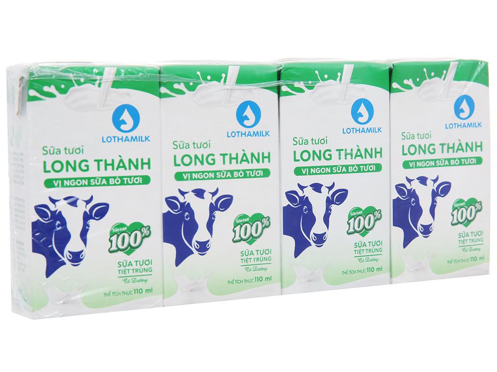 Lốc 4 hộp sữa tươi tiệt trùng Lothamilk có đường 110ml 1