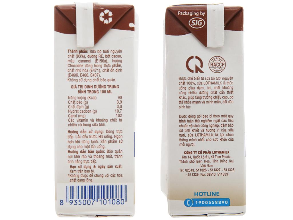 Lốc 4 hộp sữa tươi tiệt trùng Lothamilk sô cô la 4