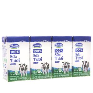 Lốc 4 hộp sữa tươi tiệt trùng Vinamilk 100% Sữa Tươi ít đường 110ml