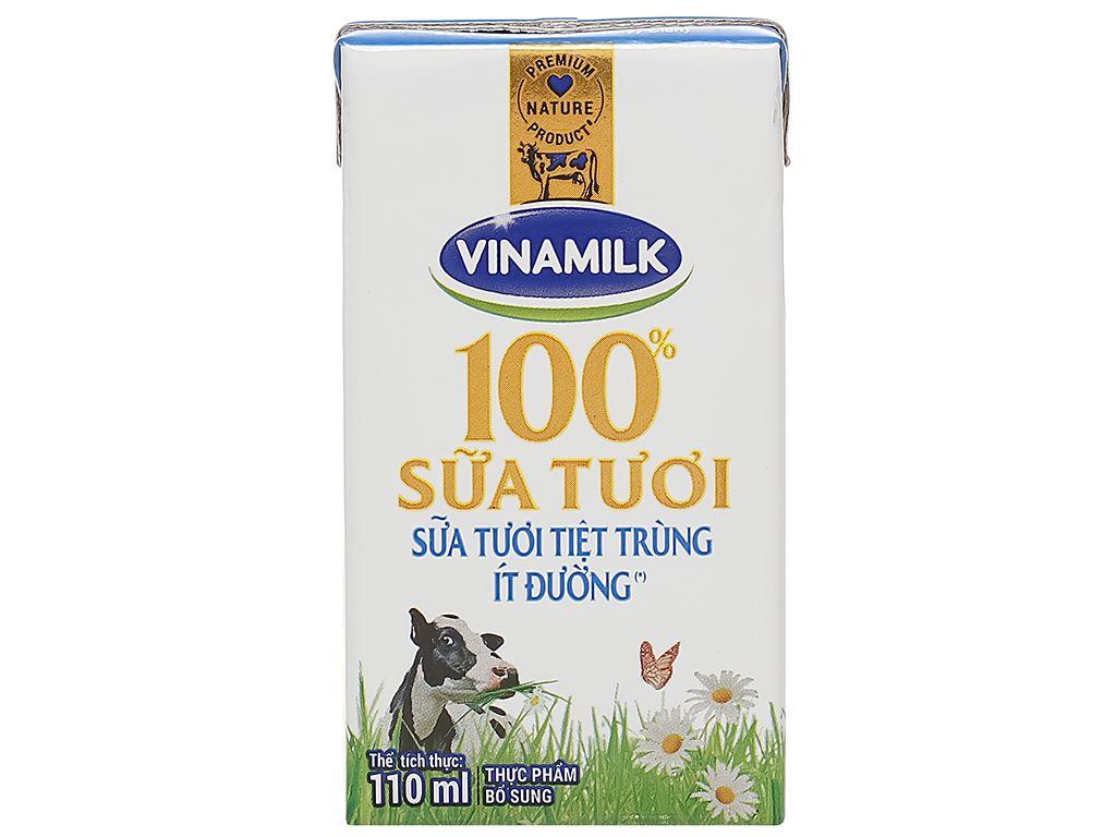 Lốc 4 hộp sữa tươi ít đường Vinamilk 100% Sữa Tươi 110ml 3