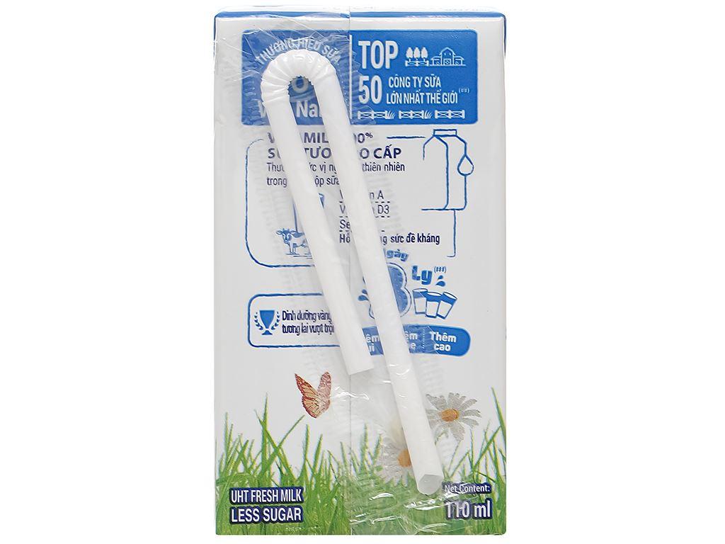 Lốc 4 hộp sữa tươi ít đường Vinamilk 100% Sữa Tươi 110ml 4
