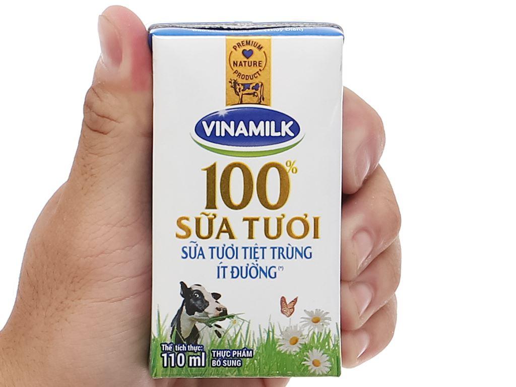 Lốc 4 hộp sữa tươi ít đường Vinamilk 100% Sữa Tươi 110ml 7