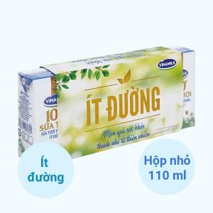 Lốc 4 hộp sữa tươi ít đường Vinamilk 100% Sữa Tươi 110ml