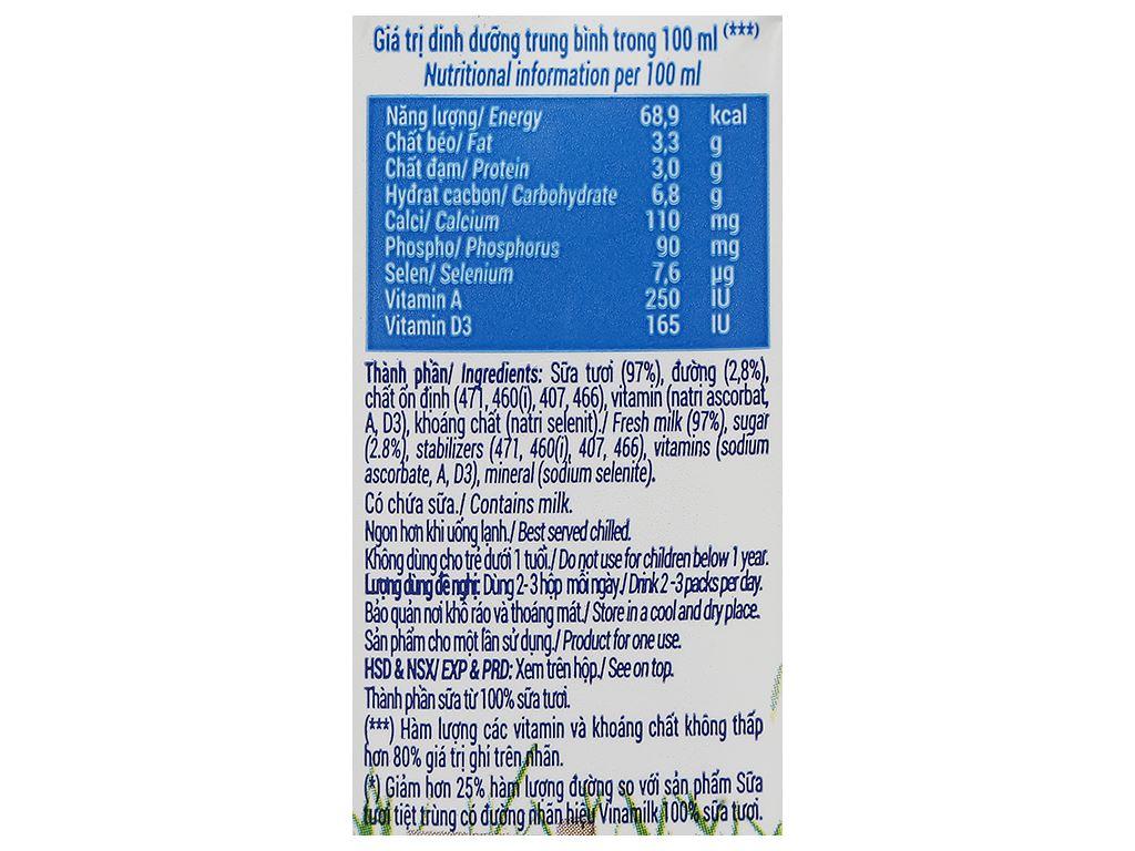 Thùng 48 hộp sữa tươi ít đường Vinamilk 100% Sữa Tươi 110ml 11