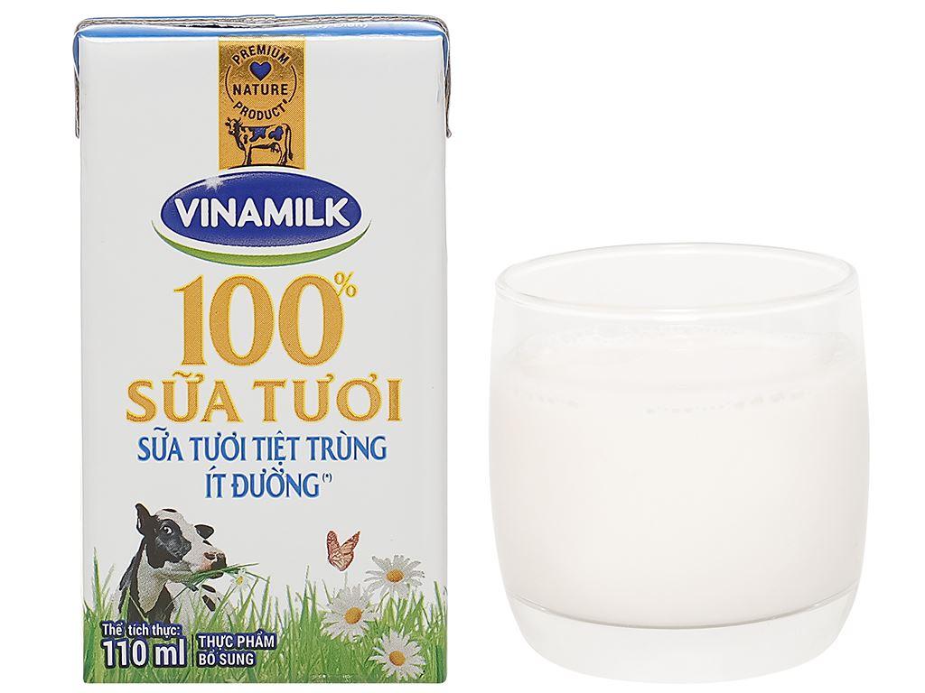 Thùng 48 hộp sữa tươi ít đường Vinamilk 100% Sữa Tươi 110ml 12