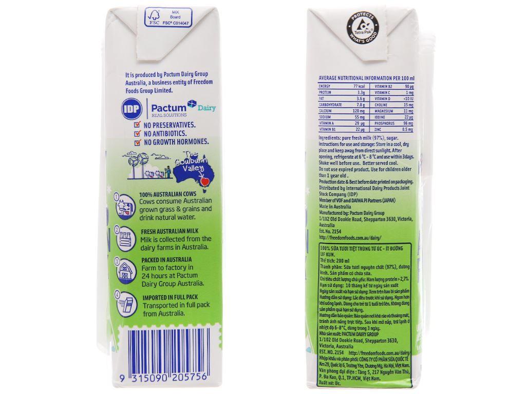 Lốc 6 hộp sữa tươi tiệt trùng LiF Kun ít đường 200ml 4