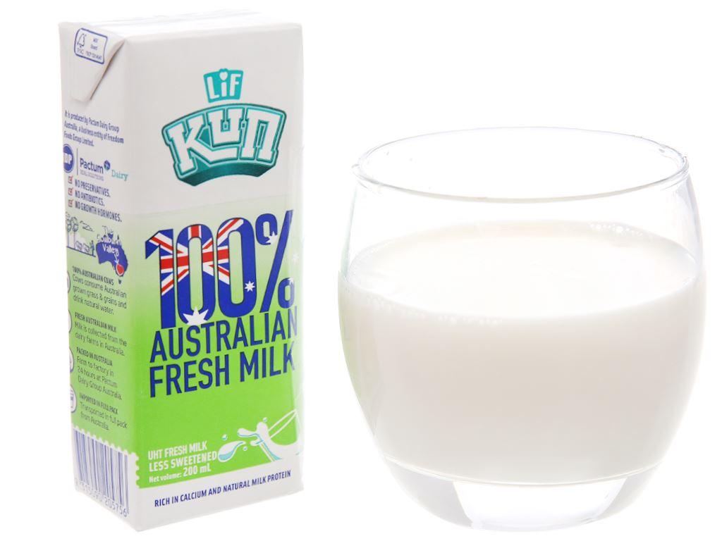 Lốc 6 hộp sữa tươi tiệt trùng LiF Kun ít đường 200ml 2