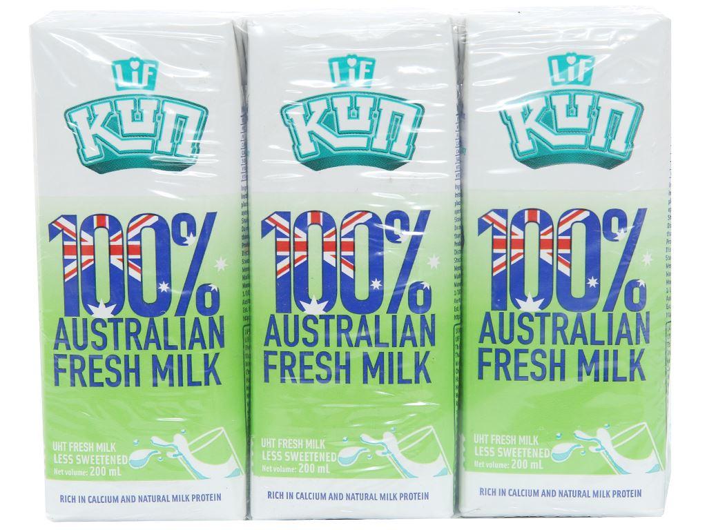 Lốc 6 hộp sữa tươi tiệt trùng LiF Kun ít đường 200ml 1