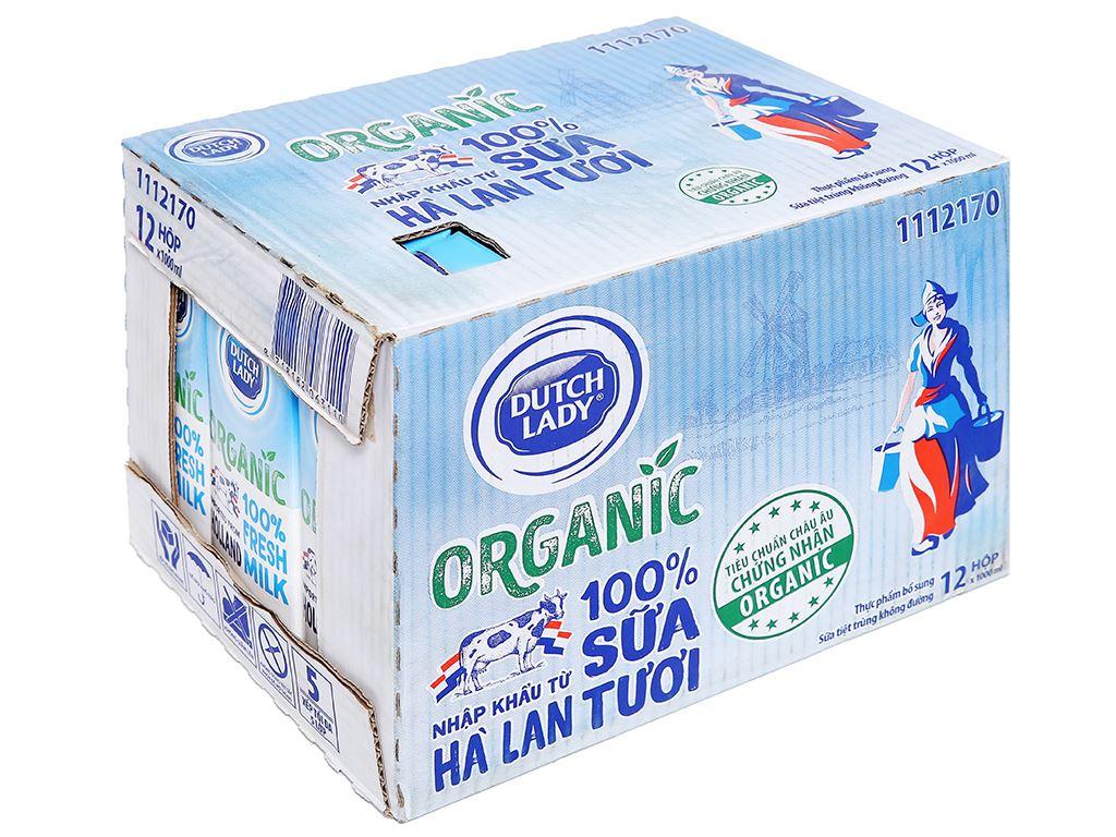 Thùng 12 hộp sữa tươi tiệt trùng Dutch Lady 100% Organic 1 lít 1
