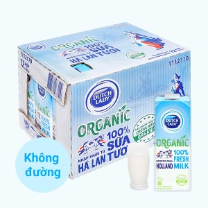 Thùng 12 hộp sữa tươi tiệt trùng Dutch Lady 100% Organic 1 lít
